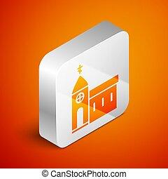 ábra, keresztény, ikon, háttér., épület, vallás, ezüst, elszigetelt, narancs, church., derékszögben, isometric, button., templom, vektor