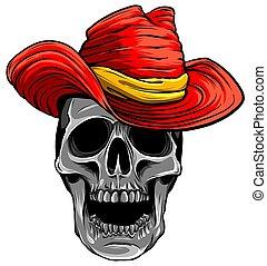 ábra, koponya, vektor, cowboy kalap
