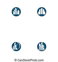 ábra, láthatár, modern, állhatatos, város, vektor, silhouette.