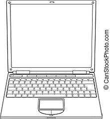 ábra, laptop, vektor, áttekintés