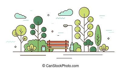 ábra, liget, művészet, kert, bokrok, táj, area., parkosít., kutyát kiállít, utca, szórakozási, gyönyörű, színes, egyenes, külső, helybeli, bitófák, light., lineáris, derékszögben, vektor, színezett, város