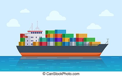 ábra, logistic., export, vektor, tartálykocsi, felszabadítás, ship., shipping., nemzetközi, szállít, rév, tenger, tengeri, rakomány, import, vagy, edény
