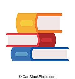 ábra, mód, színes, felolvasás, iskola előjegyez, lakás, vektor, hát, kazal, fogalom, oktatás