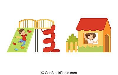 ábra, móka, gyerekek, épület, karikatúra, birtoklás, gyerekek, játszótér, játék, vektor, kevés, állhatatos, fal, mászó