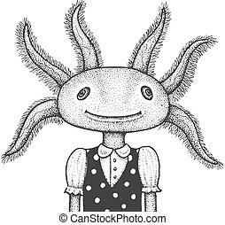 ábra, metszés, axolotl
