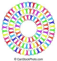 ábra, mindenfelé, emberek, világ, színes, vektor