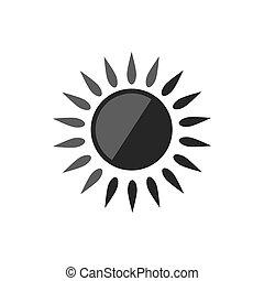 ábra, nap, háttér., vektor, icon., elszigetelt, fehér