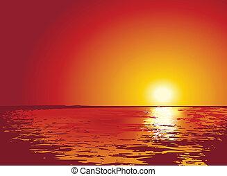 ábra, napnyugta, vagy, napkelte, tenger