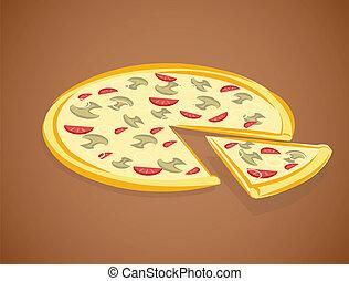 ábra, pizza, vektor