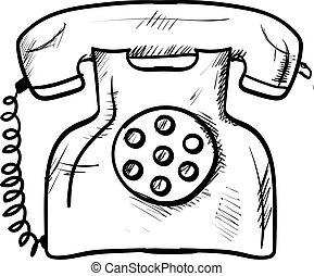 ábra, rajz, telefon, háttér., vektor, retro, fehér