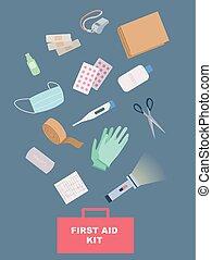 ábra, segély, felszerelés, először