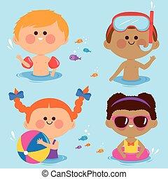 ábra, swimming., vektor, gyerekek, gyűjtés