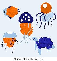 ábra, színes, vektor, medúza