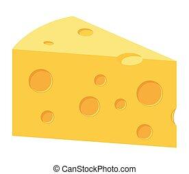 ábra, szelet, vektor, sajt, cheddar sajt