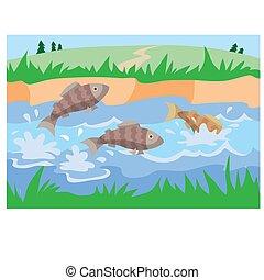 ábra, tavacska, körülvett, karikatúra, zöld, vektor, fű, fish, fröcskölő