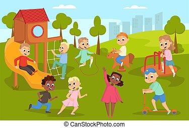 ábra, természet, csinos, táj, hinta, lovaglás, roller, játék, boldog, lefelé, gyerekek, játszótér, vektor, gyerekek, csúszó, lengés, csúszás, megrúg