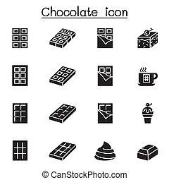 ábra, tervezés, grafikus, csokoládé, ikon, állhatatos, vektor
