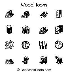 ábra, tervezés, grafikus, erdő, ikon, állhatatos, vektor