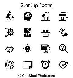 ábra, tervezés, grafikus, ikon, startup, állhatatos, vektor