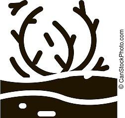 ábra, tumbleweed, vektor, glyph, ikon