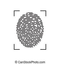 ábra, ujjlenyomat, fehér, elszigetelt, háttér, vektor