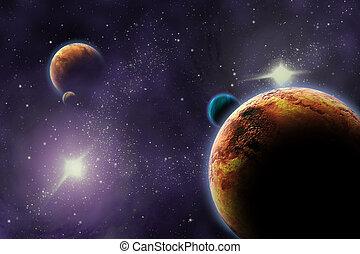 ábra, universe., elvont, mély, sötét, space., bolygók