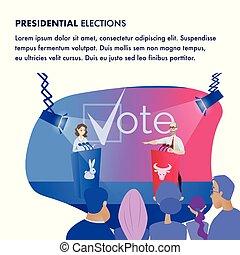 ábra, választások, elnöki, candidat, két