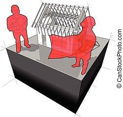 ábra, vásárló, szerkesztés, építészmérnök, alatt, épület