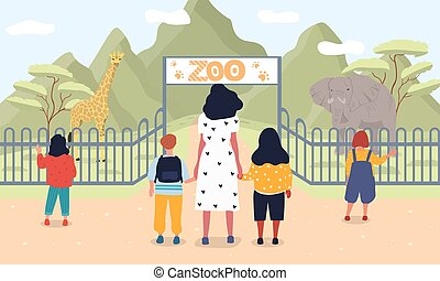 ábra, vektor, állatkert, gyerekek