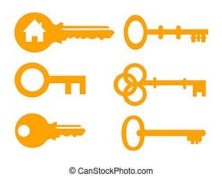 ábra, vektor, állhatatos, ikon, kulcs