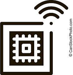 ábra, vektor, glyph, microchip, ikon