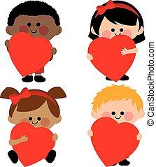 ábra, vektor, hearts., birtok, gyerekek, piros