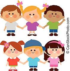ábra, vektor, különböző, hands., csoport, birtok, gyerekek