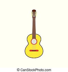 ábra, vektor, sárga, elszigetelt, guitar., fehér, mexikói, háttér.