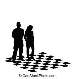 ábra, vektor, sakkjáték, asztal, leány, ember