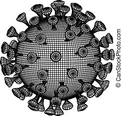 ábra, virus., fehér, vektor, 3, coronavirus, 2019-ncov