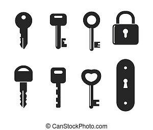 ábra, zár, kulcs, vektor, ikon