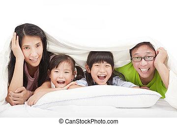 ágy, család, boldog