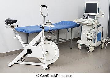 ágy, gép, ultrahang, bicikli, vizsga, gyakorlás
