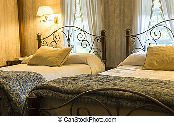 ágyak, két, hálószoba
