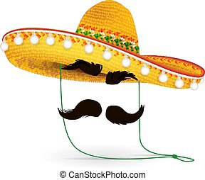 álarcos mulatság, mexikói, headdress., háttér., vektor, kalap, illustration., szombréró, vagy, jelmez, fehér, farsang