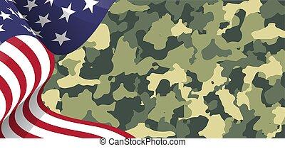 álcáz, amerikai, háttér, lobogó, ábra, hazafias, hadsereg, usa, hadi
