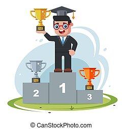 állás, bölcs, ember, kalap, competition., glasses., pódium, fog, pasas, először, diadal