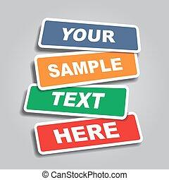 állás, szalagcímek, vektor, text., illustration.