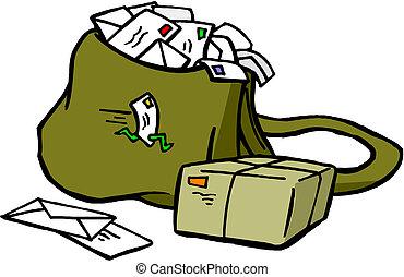 állás, táska, doboz, levél