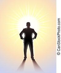 álló, árnykép, sunlight., ember