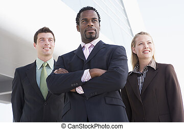 álló, épület, ügy emberek, három, szabadban, mosolygós