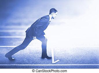 álló, útvonal, futás, ember