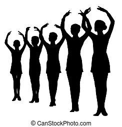 álló, balett-táncosok, kelt kezezés, evez
