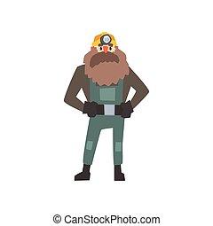 álló, csípőre tett-, szakállas, bányász, fegyver